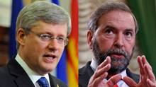 Prime Minister Stephen Harper and NDP Leader Thomas Mulcair deliver speeches to their respective caucuses in this May 2, 2012 photo combination. (The Canadian Press and Reuters)