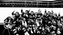 The U.S. ice hockey team celebrates its gold medal victory over Finland on Feb. 24, 1980, at Lake Placid, N.Y. The team's landmark performance that year included an upset of the mighty Soviet Union and launched a new interest in the sport. (The Associated Press)