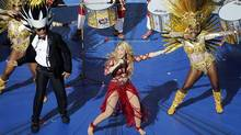 Shakira performs during the closing ceremony for the soccer World Cup at the Maracana Stadium in Rio de Janeiro, Brazil, Sunday, July 13, 2014. (AP Photo/Fabrizio Bensch, Pool)