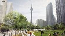 An artist's rendering of the proposed Rail Deck Park between Bathurst St. and Blue Jays Way is seen.