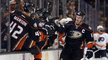 Anaheim Ducks' Ryan Getzlaf, right, celebrates his goal against the Philadelphia Flyers on Dec. 27. It was the captain's second goal of the season, and the first that wasn't into an empty net. (Jae C. Hong/AP Photo)