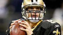 New Orleans Saints quarterback Drew Brees (9) warms up prior to kickoff of a game against the New York Giants at the Mercedes-Benz Superdome. Derick E. Hingle-US PRESSWIRE (Derick E. Hingle/US PRESSWIRE)