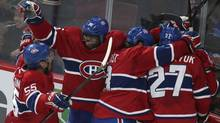 Montreal Canadiens' P.K. Subban (2nd L) celebrates a goal by teammate Brendan Gallagher (hidden) during second period NHL hockey action against the Buffalo Sabres in Montreal February 2, 2013 (Reuters)