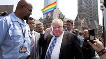 Toronto Mayor Rob Ford leaves a ceremony after participating in the official flag raising of Toronto Pride week June 24, 2013. (Moe Doiron/The Globe and Mail)