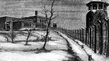 Sketch by a German officer of Camp 30, with the guard tower and barbed-wire fence in foreground.