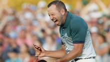 Sergio Garcia, of Spain, reacts after making his birdie putt on the 18th green to win the Masters golf tournament after a playoff Sunday, April 9, 2017, in Augusta, Ga. (Matt Slocum/Associated Press)