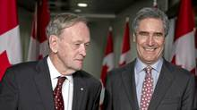 Former Liberal prime minister Jean Chretien and Liberal Leader Michael Ignatieff arrive at a reception in Toronto on April 27, 2011. (Paul Chiasson/The Canadian Press/Paul Chiasson/The Canadian Press)