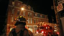 Firefighters respond to a fire at the Winchester Hotel in Toronto's Cabbagetown on Wednesday.