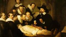 "You sure he's dead? Detail from Rembrandt's ""The Anatomy Lesson of Dr Nicholaes Tulp"" (1632)"