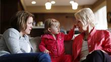 Cassie Campbell-Pascall at home with her daughter Brooke and her mom Eunice in Calgary on May 3, 2012. (TODD KOROL/Todd Korol for The Globe and Mail)