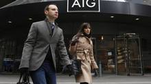 AIG's headquarters in New York. The company supplanted Apple as most favoured stock among hedge funds. (Brendan McDermid/Reuters)