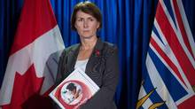 Mary-Ellen Turpel Lafond, appearing at a news conference in Vancouver in 2015, claims the province owes her 1.5 years of pension credit for every year worked. (DARRYL DYCK/THE CANADIAN PRESS)