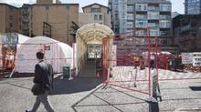The Mobile Medical Unit was set up in Vancouver's Downtown Eastside to take the pressure off emergency services is seen in Vancouver, British Columbia, Thursday, March 30, 2017. (Rafal Gerszak)