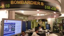 Bombardier on a stock ticker in downtown Toronto. (Fernando Morales/The Globe and Mail)