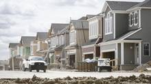 A new housing subdivision springing up in Calgary, where housing starts rose above 28,000 annualized in July, more than any other city in the country, and more than double the city's June pace. (Jeff McIntosh For The Globe and Mail)