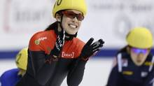 Canada's Valerie Maltais celebrates her win in the women's 1000 meter final during the ISU Short Track World Cup competition in Montreal, Quebec October 28, 2012. (CHRISTINNE MUSCHI/REUTERS)