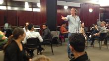 Veteran actor Rob Nickerson leads a class of first-year MBA students at McGill University through an improv theatre class. (Desautels Faculty of Management)