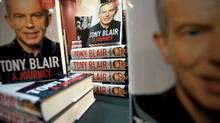 "Copies of former British Prime Minister Tony Blair's memoirs, ""A Journey"" are displayed as the book goes on sale for the first time in book stores in London, on September 1, 2010. (LEON NEAL/AFP/Getty Images)"
