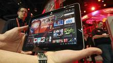 A Samsung tablet runs a Ustream App during the 2012 International Consumer Electronics Show in Las Vegas last month. (Steve Marcus / Reuters/Steve Marcus / Reuters)