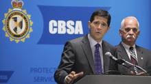 The CBSA logo is seen during a press conference, Oct. 15, 2012 (Peter Mccabe/THE CANADIAN PRESS)