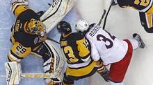 Marc-André Fleury made 49 saves in the Penguins' series-clinching Game 5 win over Columbus. (Gene J. Puskar/AP)