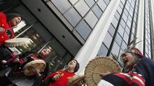 Native protestors demonstrate at Enbridge headquarters in Vancouver in December of 2010 (Simon Hayter For The Globe and Mail)