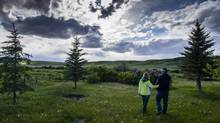 Marty and Kim Woods visit their home on the Siksika Nation in Alberta earlier this month. (John Lehmann/The Globe and Mail)