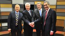 Left to right, New Democratic Party leader Jack Layton, Bloc Quebecois leader Gilles Duceppe, Prime Minister Stephen Harper and Liberal leader Michael Ignatieff shake hands prior to the French language federal election debate in Ottawa on Wednesday, April 13, 2011. (Sean Kilpatrick/The Canadian Press/Sean Kilpatrick/The Canadian Press)