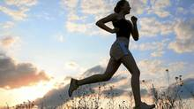 File #: 10060150 Silhouette woman run under blue sky with clouds and sun Credit: iStockphoto (Royalty-Free) Keywords: Running, Jogging, Women, Exercising, Sport, Silhouette, Female, Outdoors, Marathon, Leg, Athlete, Sun (Anatoly Tiplyashin/iStockphoto)