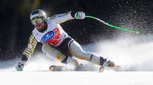 Jan Hudec of Canada speeds down the slope during the men's Alpine Skiing World Cup Super G race in Schladming March 15, 2012. (DOMINIC EBENBICHLER/REUTERS)