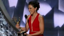 Tatiana Maslany accepts the award for Outstanding Lead Actress In A Drama Series for Orphan Black at the 68th Primetime Emmy Awards in Los Angeles, California, U.S., September 18, 2016 (MIKE BLAKE/REUTERS)