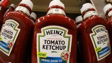 Heinz tomato ketchup product line the shelves of a West Mifflin, Pa., market in this Aug. 31, 2006 file photo. (GENE J. PUSKAR/GENE J. PUSKAR/AP)