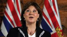 Premier Christy Clark speaks to media following a swearing-in ceremony for the provincial cabinet at Government House in Victoria, B.C., on Monday, June 12, 2017. (CHAD HIPOLITO/THE CANADIAN PRESS)