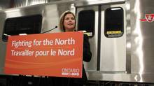 Ontario NDP Leader Andrea Horwath touts her plan for government procurement projects to require Ontario materials at a Bombardier plant in Thunder Bay on Sept. 16, 2011. (Anna Mehler Paperny/The Globe and Mail)