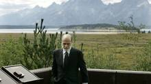 Federal Reserve Bank chairman Ben Bernanke, with the Teton Mountains behind him, at the economic symposium in Jackson Hole, Wyo., in 2007. (Ted S. Warren/AP)