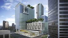 Telus's $750-million 22-storey building includes office and residential space in a formerly ragged block of downtown Vancouver. (Henriquez Partners Architects/Telus Corp./Westbank Holdings/Henriquez Partners Architects/Telus Corp./Westbank Holdings)