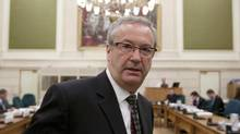 Chief electoral officer Marc Mayrand waits to appear before the Commons ethics committee on Parliament Hill in Ottawa, Oct. 4, 2011. (Adrian Wyld/The Canadian Press)