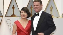 Martha L. Ruiz, left, and Brian Cullinan from PricewaterhouseCoopers at the Oscars on Feb. 26, 2017. (Jordan Strauss/Invision/AP)