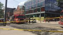A 'significant' gas leak was reported at building near King and Portland. (Kaleigh Rogers/The Globe and Mail)
