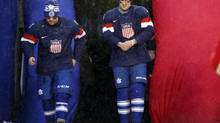 Toronto Maple Leafs players Phil Kessel (left) and James van Riemsdyk (right) are introduced as members of the U.S. Olympic hockey team after the 2014 Winter Classic hockey game against the Detroit Red Wings at Michigan Stadium. (RICK OSENTOSKI/USA TODAY SPORTS)
