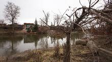 Houses on the banks of the Elbow River that flooded many houses last year in Calgary, Alberta on April 23, 2014. (Todd Korol for The Globe and Mail)