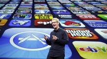 Apple CEO Tim Cook speaks during a product event in San Francisco, Wednesday, March 7, 2012. Apple is expected to reveal a new iPad model at WednesdayÍs event in San Francisco. (Paul Sakuma/AP/Paul Sakuma/AP)