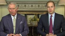 Princes Charles and William in a frame grab from Youtube.