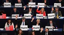 Members of the European Parliament take part in a voting session on the EU-Canada Comprehensive Economic and Trade Agreement in Strasbourg, France, on Feb. 15, 2017. (FREDERICK FLORIN/AFP/Getty Images)