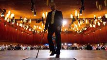 NDP Leader Jack Layton leaves the stage at the party's 50th anniversary convention in Vancouver on June 19, 2011. (DARRYL DYCK/THE CANADIAN PRESS)