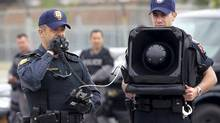 Police demonstrate the use of a Long Range Acoustic Device as the Integrated Security Unit for the G20 provide a technical briefing at the Toronto Police College Thursday, June 3, 2010. (Darren Calabrese/Darren Calabrese for The Globe a)