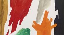 Jack Bush, Down Sweep, 29 – 30 June 1958, oil on canvas, 190.5 x 243.2 cm (75 x 95.75 in.). Collection of Vanac Development Corp., Vancouver (Michael Cullen, TPG Digital Art Services/© Estate of Jack Bush / SODRAC (2014))