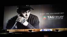 A TAG Heuer watch billboard with an image of golf legend Tiger Woods is shown on December 11, 2009 in Los Angeles, California. (David McNew/David McNew/Getty Images)