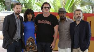 Director Quentin Tarantino (C) poses with (L-R) U.S actors Leonardo DiCaprio, Kerry Washington, Jamie Foxx and Austrian actor Christoph Waltz, during the launch of their film