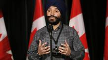 Minister of Innovation, Science and Economic Development Navdeep Bains answers questions from the media at a Liberal cabinet retreat in Calgary on Jan. 23, 2017. (Todd Korol/THE CANADIAN PRESS)